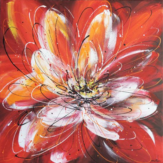 Eruzione di rossi - 70x70 - dipinto di Silvia Tassoni
