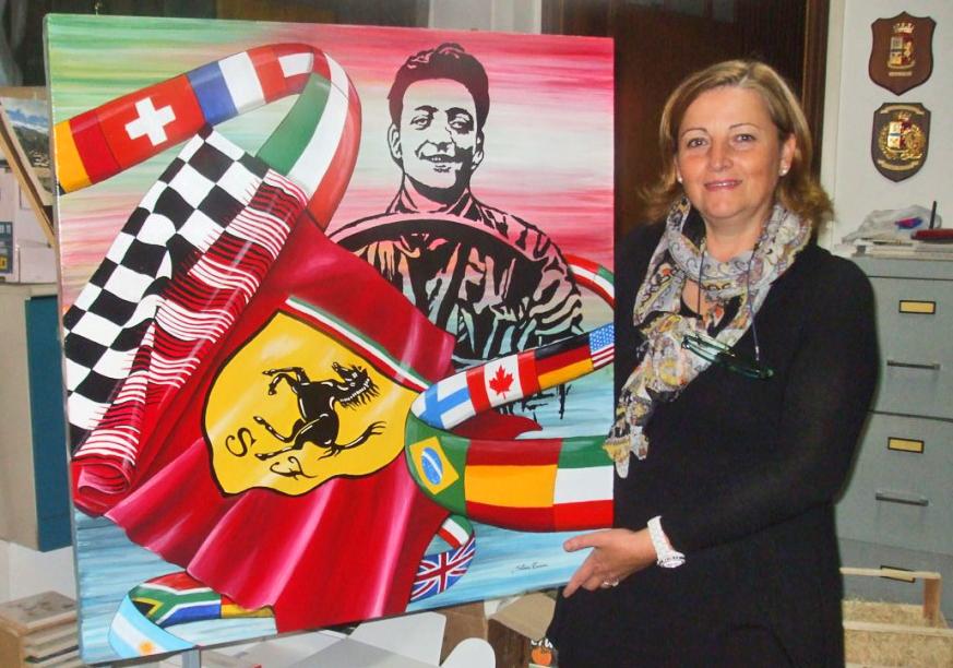 Silvia Tassoni dipinto donato a amaranello maratona enzo ferrari