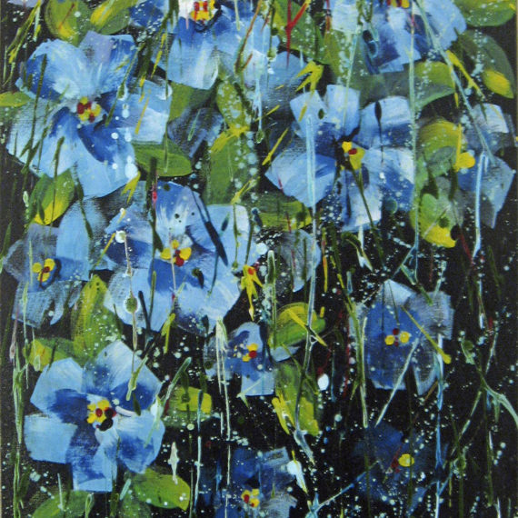 Anemoni - 50x70 - dipinto di Silvia Tassoni