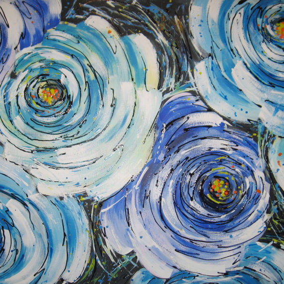 Rose blu 70x100 - Silvia Tassoni