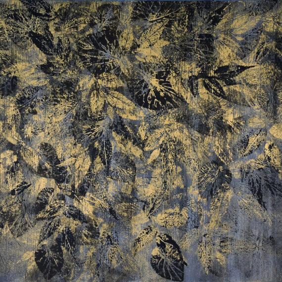 Foglie dorate 50x60 - dipinto di Silvia Tassoni